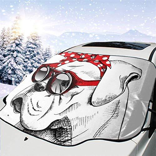 Tcerlcir Cubierta del Parabrisas del Coche Bulldog Retrato Diadema roja Gafas de Sol Vector Cubierta de Nieve para automóvil, Parasol para eliminación de Hielo del vehículo, 147x118cm
