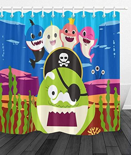 /N Cartoon kleine Haifamilie Piraten Duschvorhang Bad wasserdicht Duschvorhang Polyester Material Maschine waschbar