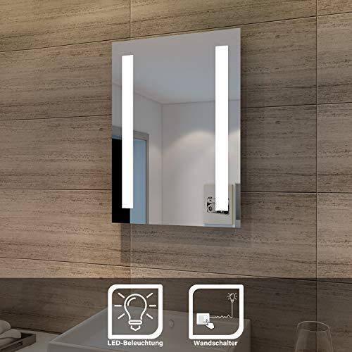 Sonni Badspiegel 45x60cm Spiegel (eckig) mit energiesparender LED-Beleuchtung kaltweiß IP44 energiesparend