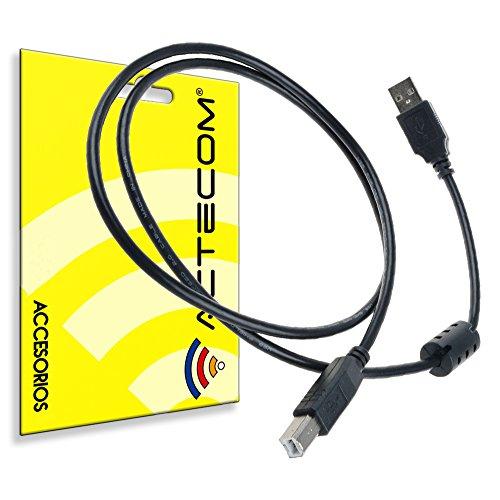 ACTECOM® Cable de Impresora escáner Cable de Alta Velocidad 480 Mbps USB a a B Macho compatible con HP, Canon, Lexmark, Epson, DELL, Xerox, Samsung etc, 1,5 m, Color Negro USB 2.0