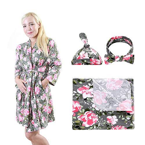 Morgenmantel Nachthemden Bademantel Nachtwäsche Blumenmuster für Damen