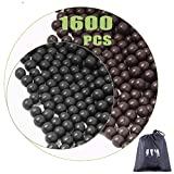 cyrico Slingshot Ammo Balls 3/8 Inch, 1600 PCS Biodegradable Clay Slingshot Ammo 9-10mm (Black and Grey)