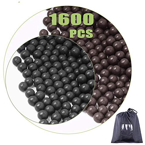 cyrico Slingshot Ammo Balls 3/8 Inch, 1600 PCS Biodegradable Clay Slingshot Ammo 9-10mm (Black and...