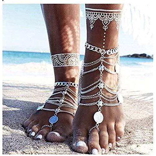 Edary Vintage gelaagde ketting kwast enkel zilveren munt enkel armband strand op blote voeten sieraden voor vrouwen en meisjes