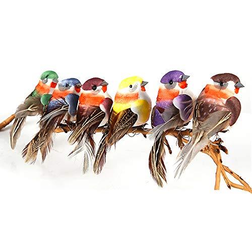 Yolococa Pájaros Artificiales con Pinzas Decoración de Árbol de Navidad Adornos de Pájaros Multicolor (12 Unidades)