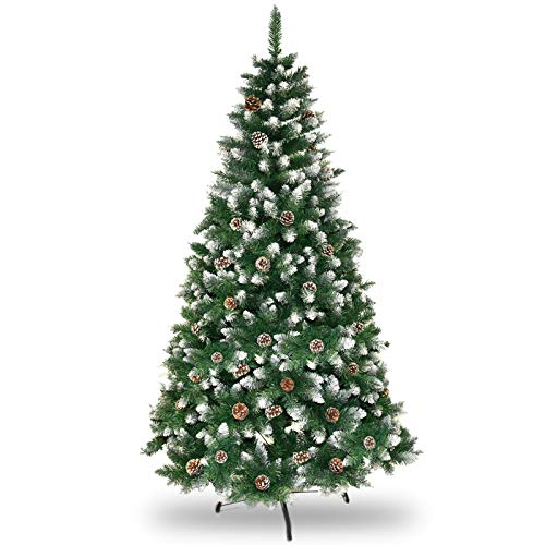 6FT Artificial Christmas Tree, Flocked Snow Xmas Tree with Pine Cones for Festival Holiday Decor, Green