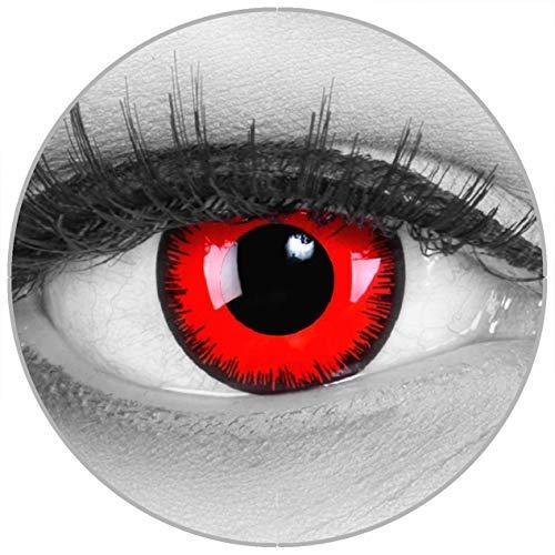 Lenti a contatto colorate Red Lunatic in rosso + contenitore – Funnylens marchio di qualità, 1 Coppia (2 pezzi)