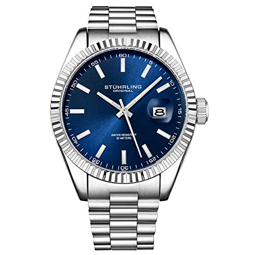 Stuhrling Original Watches for Men - Lineage Analog Dress Watch Mens Quartz Watch Watch Stainless Steel Bracelet Wrist Watch Luminous Hands and Markers - Mens Watch Collection (Blue)