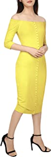 Women Off The Shoulder Ribbed Sweater Dress Stretch Bodycon Button Midi Long