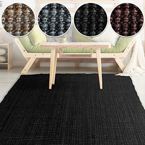casa pura Jute Teppich Webteppich aus Naturfaser | Moderner Juteteppich | Natürliche Sisal Optik für Wohnzimmer, Esszimmer und Flur | Große Auswahl | Schwarz - 160x230 cm
