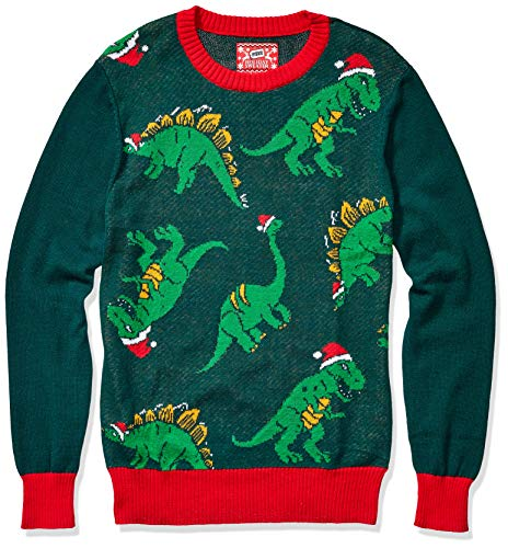 Hybrid Apparel Men's Ugly Christmas Sweater, Dino/Green, Medium