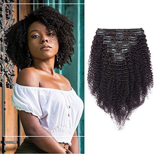 Extension a Clip Cheveux Naturel Bouclé Afro Maxi Volume - Rajout Cheveux Humain 8 Pcs Tissage Cheveux Avec Clips (#1B Noir naturel, 50 cm)
