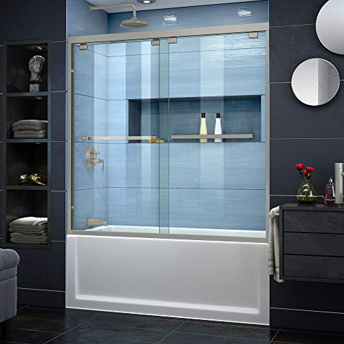 Great Deal! DreamLine Encore 56-60 in. W x 58 in. H Semi-Frameless Bypass Tub Door in Brushed Nickel...