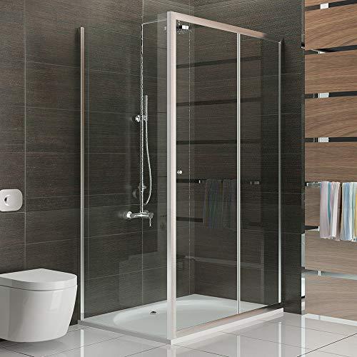 Alpenberger - Ducha esquinera antical con puerta corredera, 120 x 100 x 190 cm, perfiles de aluminio anodizado, protección contra salpicaduras