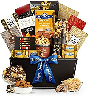 GiftTree Metropolitan Gourmet Happy Birthday Gift Basket | Assorted Candy, Pistachios, Dried Pineapple, Cookie Brittle, Toffee Popcorn | Perfect Way to Celebrate Their Special Day