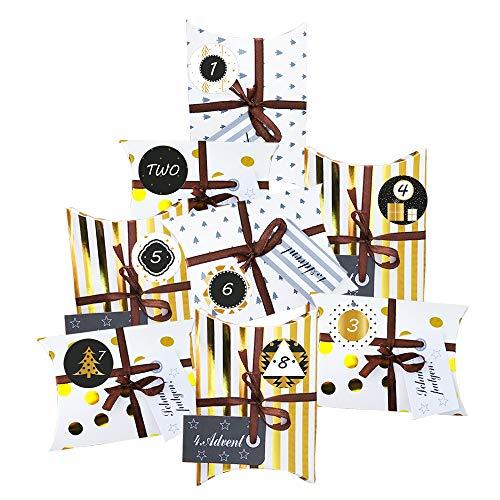 Anyingkai Caja de Regalo Navidad,Calendario de adviento para Rellenar,Almohada Cajas de Regalo,24 Calendario de adviento Navidad,Calendario de Adviento (Dorado)