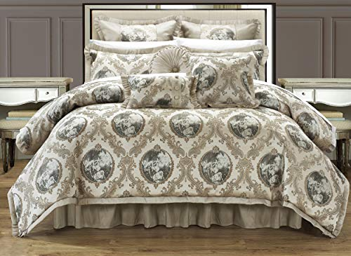 Chic Home 9 Piece Romeo and Juliet Decorator Upholstery Comforter Set with Pillows Ensemble, King, Beige