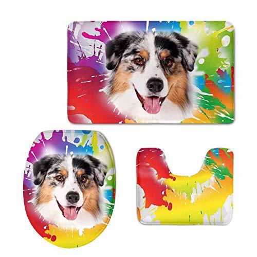 YSDDM Badmat Aquarel Graffiti Hond Print zachte Badkamer Toilet Stoel Cover 3 stks/set Toilet Stoel Cover Tapijt Set Voor Thuis Groothandel in Toilet Stoelhoezen van Thuis & Tuin