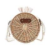 Bolsos de ratán, bolso cruzado de paja para mujer, bolso de hombro tejido de mimbre para playa, cadena de perlas con cordón para viajes en la playa y uso diario (redondo)