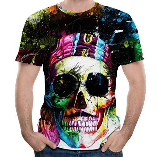 Yowablo Tee Shirt Court Homme T Shirt T-Shirt Hommes Été Nouveau Full 3D Imprimé Plus La Taille S-3XL Cool Impression Top Blouse (M,1Noir)