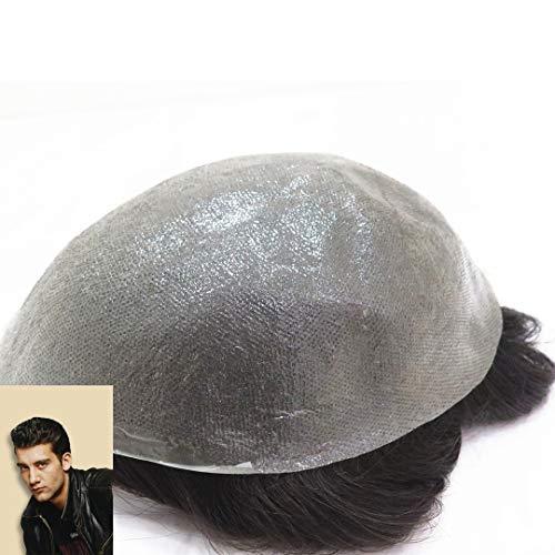 Natural Looking Ultra Thin Skin V-Schlaufe für Männer, realistisches menschliches Haar, Toupet, mit Kopf-Oberteil
