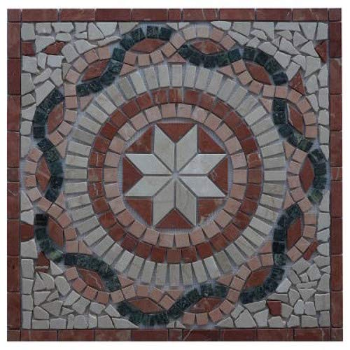 Antikmarmor Rosone 66x66 Windrose Mosaik Fliesen Naturstein Rosso Verona 26015