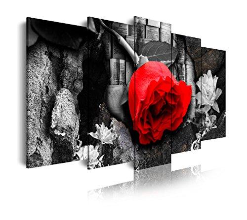 DekoArte 264 - Cuadros Modernos Impresión de Imagen Artística Digitalizada | Lienzo Decorativo para Tu Salón o Dormitorio | Estilo Naturaleza En Blanco y Negro con Flor en Rojo | 5 Piezas 150x80cm