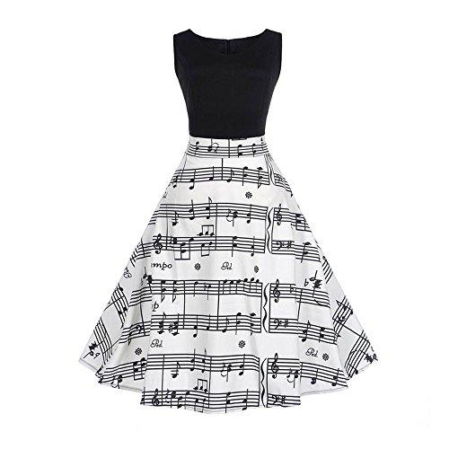 Innerternet Vestito da Donna Womens Vintage Nota Musicale Stampa Aderente Senza Maniche Casual Partito di Promenade Swing Dress