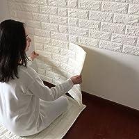 STRIR 1PCS Pegatina de Azulejos Ladrillo 60 * 60cm Más espeso 3D Pegatina de Pared Autoadhesivo Panel Pared Impermeable PE Espuma Decoración de pared (Blanco)