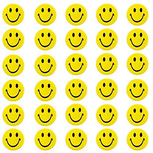 Oblique Unique® 30 Stück Gelbe Smiley Face Anstecker Ø 4,2cm / Buttons mit Sicherheitsnadel hinten - kräftige Farben für Gute Laune