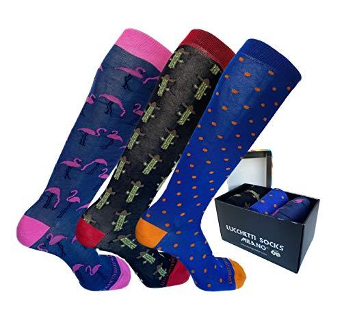 Lucchetti Socks Milano calze calzini uomo lunghe estive, in cotone mercerizzato fresco e leggero 3 paia colorate moda fashion (Set pois colors)