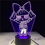 T-ara Lámpara de mesita de noche minimalista moderna, novedad lámpara de ilusión 3D luz nocturna táctil control remoto/bebé dormir luz de noche/regalo de cumpleaños/lámpara de mesa