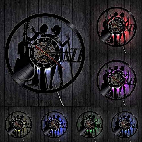 GVSPMOND Cantante Artes escénicas Reloj de Pared Jazz Rock Band Disco de Vinilo Reloj de Pared Decoración de la Pared del Dormitorio Regalo para los Amantes del Jazz