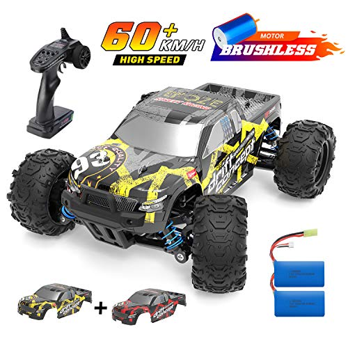 DEERC Brushless RC Cars High Speed Remote Control Car 4WD 35+ MPH 1:18 Scale RC Monster Truck for Kids Adults, All Terrain Off Road Toy Truck with Extra Shell 2 Battery,40+ Min Play Car Gifts for Boys