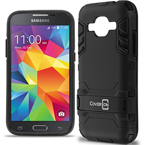 Galaxy Core Prime Case, Galaxy Prevail LTE Case, CoverON [Shadow Armor Series] Dual Layer Hybrid Cover Kickstand Phone Case for Samsung Galaxy Core Prime (G360) Prevail LTE - Black