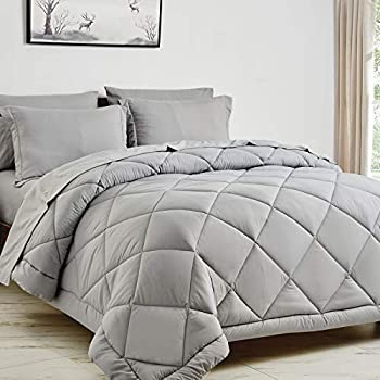 CozyLux Full/Queen Bed in a Bag 7-Pieces Comforter Sets with Comforter and Sheets Light Grey All Season Bedding Sets with Comforter Pillow Shams Flat Sheet Fitted Sheet and Pillowcases