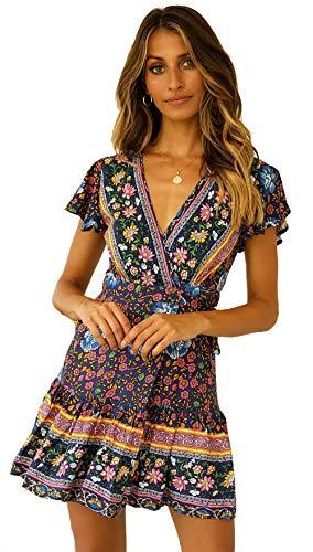 SEMIR Mujeres Sexy Cuello en V Boho Estampado Floral Mini Vestido Casual Vintage Summer Beach Wrap Sash Vestido de Fiesta de Noche Corta Marin S