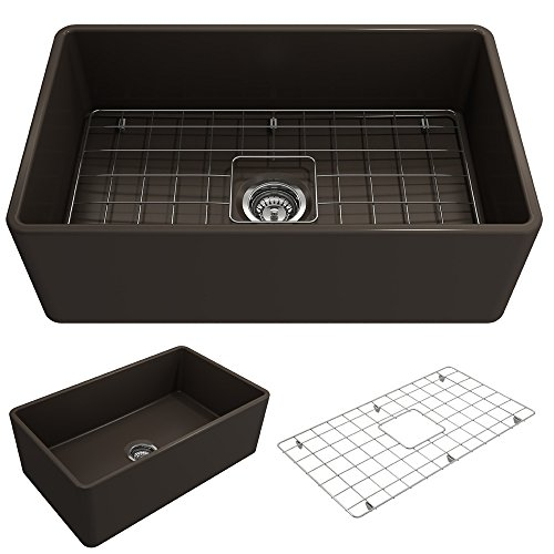 BOCCHI 1138-025-0120 Classico Apron Front Fireclay 30 in. Single Bowl Kitchen Sink with Protective Bottom Grid and Strainer in M, Matte Brown