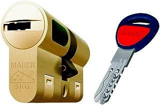 MAUER NW5 31x31 DOBLE EMBRAGUE Bombin de Seguridad Color LATON Reforzado Antirotura Antibumping Antitaladro Leva Antiextracción Cerradura para Puerta 5 LLaves Cilindro Tarjeta de Seguridad