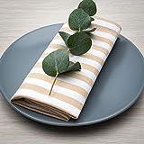 FILU Servietten 8er Pack Beige/Weiß gestreift (Farbe und Design wählbar) 45 x 45 cm - Stoffserviette aus 100% Baumwolle im skandinavischen Landhausstil