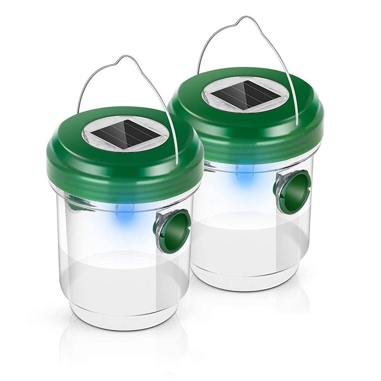 Cypropid Wasp Traps Catcher, Life Outdoor Solar Powered Fly Ultraviolet LED Light Waterproof for Trapping Bees, Hornets, Yellow Jackets, Bugs in Home Garden (2 Pack), Green