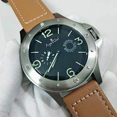 QWERTU Reloj de Cuero Marrón Luminoso Verde de Acero Inoxidable de Zafiro Mecánico Automático para Hombre Nuevo Clásico de 60 mm de Tamaño Grande Limitado AAA +