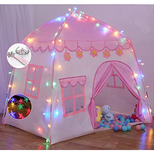 TTLOJ Kids Play Tent for Girls Boys Princess Playhouse Castle Play Tent Children Fairy Tale Teepee for Indoor Outdoor with Carry Bag 420D Oxford, with Colorful Star Lights