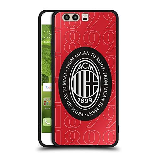 Head Case Designs Ufficiale AC Milan 1899 Logo Nero Arte Cover Nera Ibrida in Vetro per Parte Posteriore Compatibile con Huawei P10