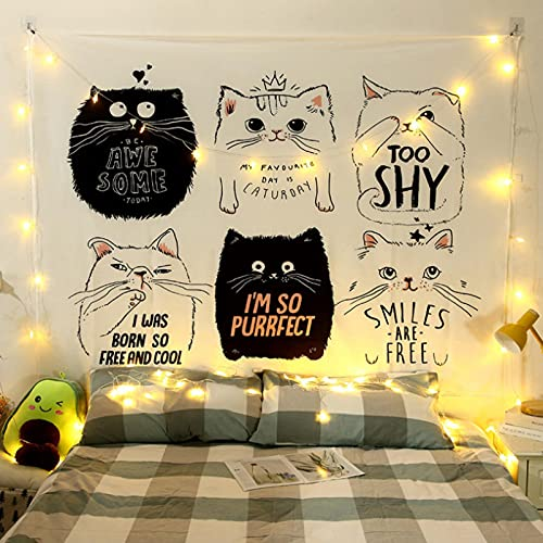 Dibujos Animados Gato Blanco Y Negro Tapiz De Pared Paño Colgante Decoración De Pared Tapices Dormitorio Sala De Estar Dormitorio Cortina Toalla De Playa Manta 79X59Inches