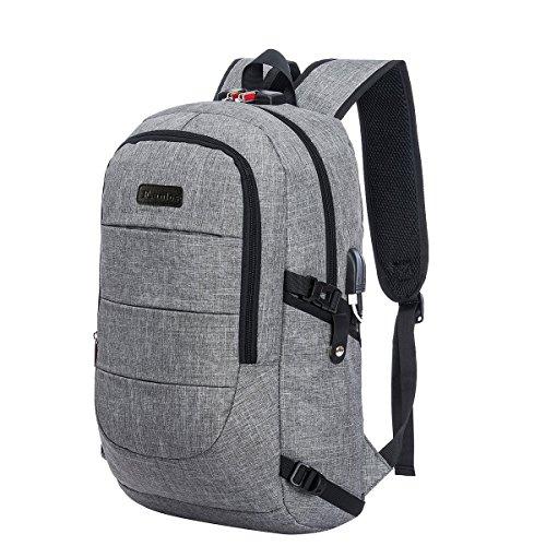 Laptop Rucksack mit USB, USB Outdoor Rucksack 15,6 Zoll, Rucksack für Herren und Damen mit Anti-Diebstahl Design, für Arbeit Schul Outdoor, Business, Laptop, Wandern, 30*50*14cm (Grau)