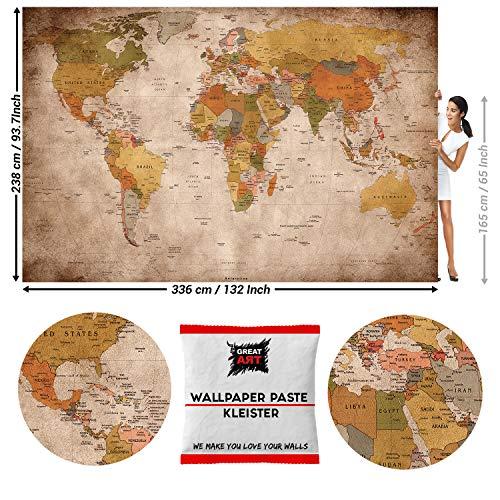 GREAT ART Foto Mural Mapa del Mundo Vintage 336 x 238 cm - Papel Pintado 8 Piezas incluye Pasta para pegar