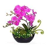 YILIYAJIA Artificial Phalaenopsis Orchid Bonsai Fake Flowers with Vase Arrangement 5 Head PU Phalaenopsis Bonsai for Home Table Decor(Black Vase)