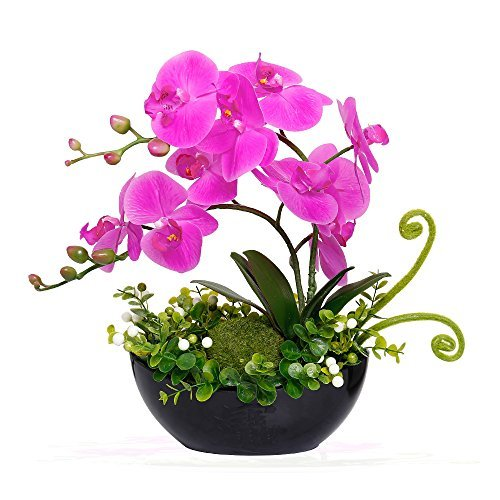 YILIYAJIA Artificial Phalaenopsis Orchid Bonsai Fake Flowers with Vase Arrangement 5 Head PU Phalaenopsis Bonsai for Home Table Decor(Black Vase)