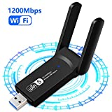 1200Mbps Adattatore WiFi USB 3.0 Chiavetta WiFi Antenna Scheda WiFi Dual Band (5GHz/867Mbps+2.4GHz/300Mbps) per PC Laptop Supporto Windows XP/Vista / 7/8/10 Mac OS